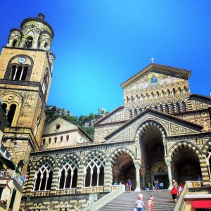 Amalfi - The facade of the 12th.  century Cathedral