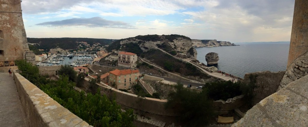 Bonifacio, Corsica - View of the marina from the battlements of the Old Town