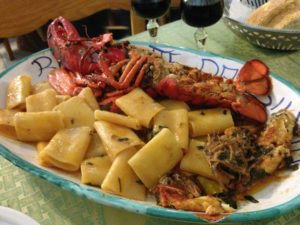 Cannigione - Pasta with Lobster. Best value seafood restaurant in Sardinia!