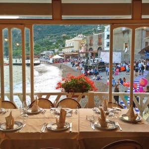 Marina del Cantone - The beach from a restaurant