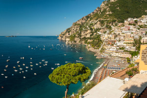Positano - A general view with the Galli Islands in the distance.