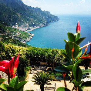 Ravello - A view of the Amalfi Coast from the gardens at Villa Rufolo